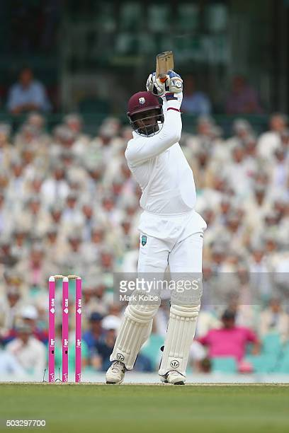 Carlos Brathwaite of West Indies bats during day two of the third Test match between Australia and the West Indies at Sydney Cricket Ground on...