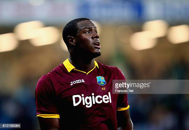 Carlos Brathwaite of West Indies looks on during the second T20 International match between Pakistan and West Indies at Dubai International Cricket...