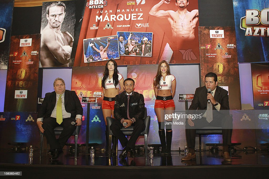Carlos Bremer, Boxer <a gi-track='captionPersonalityLinkClicked' href=/galleries/search?phrase=Juan+Manuel+Marquez&family=editorial&specificpeople=4202669 ng-click='$event.stopPropagation()'>Juan Manuel Marquez</a> and Fernando Beltran, during a press conference after the fight between Manny Pacquiao and <a gi-track='captionPersonalityLinkClicked' href=/galleries/search?phrase=Juan+Manuel+Marquez&family=editorial&specificpeople=4202669 ng-click='$event.stopPropagation()'>Juan Manuel Marquez</a> at Presidente Intercontinental Hotel on December 14, 2012 in Mexico City, Mexico.