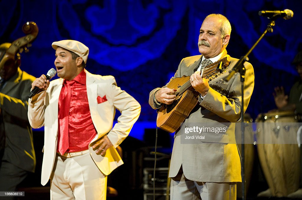 Carlos Calunga and Barbarito Torres of Orquesta Buena Vista Social Club perform on stage during Voll-Damm Festival Internacional de Jazz de Barcelona at Palau De La Musica on November 21, 2012 in Barcelona, Spain.