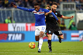 Carlos Carbonero of US Sampdoria battles for the ball with Lorenzo Tonelli of Empoli FC during the Serie A match between UC Sampdoria and Empoli FC...