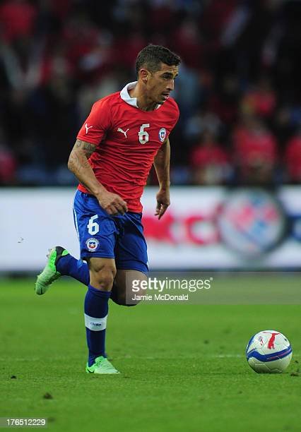 Carlos Carmona of Chile in action during the international friendly match between Chile and Iraq at the Brondby Stadium on August 14 2013 in Brondby...