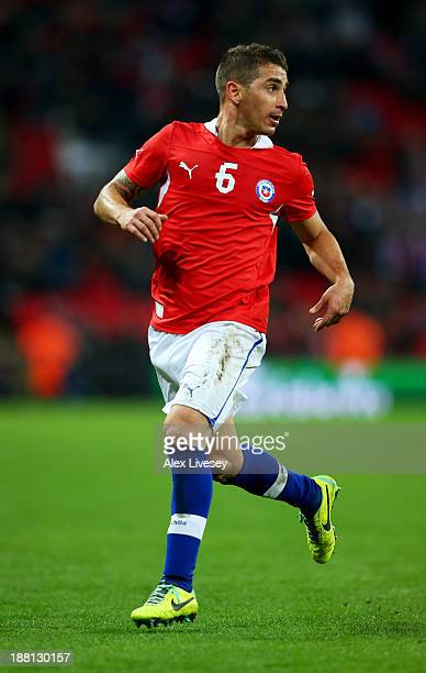 Carlos Carmona of Chile in action during the international friendly match between England and Chile at Wembley Stadium on November 15 2013 in London...