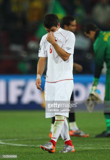 Carlos Carmona of Chile looks dejected at the final whistle after being knocked out of the competition during the 2010 FIFA World Cup South Africa...