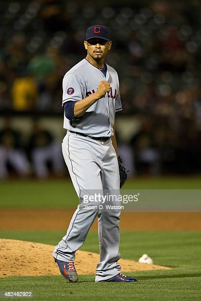 Carlos Carrasco of the Cleveland Indians celebrates after the game against the Oakland Athletics at Oco Coliseum on July 30 2015 in Oakland...