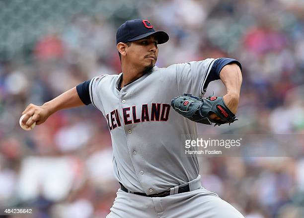 Carlos Carrasco of the Cleveland Indians delivers a pitch against the Minnesota Twins during the first inning of the game on August 16 2015 at Target...