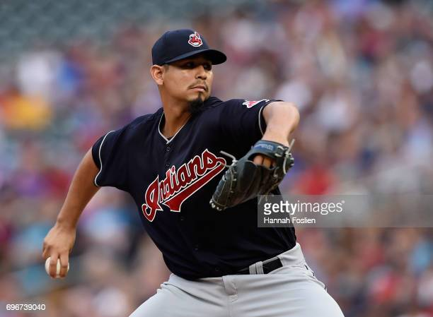 Carlos Carrasco of the Cleveland Indians delivers a pitch against the Minnesota Twins during the first inning of the game on June 16 2017 at Target...