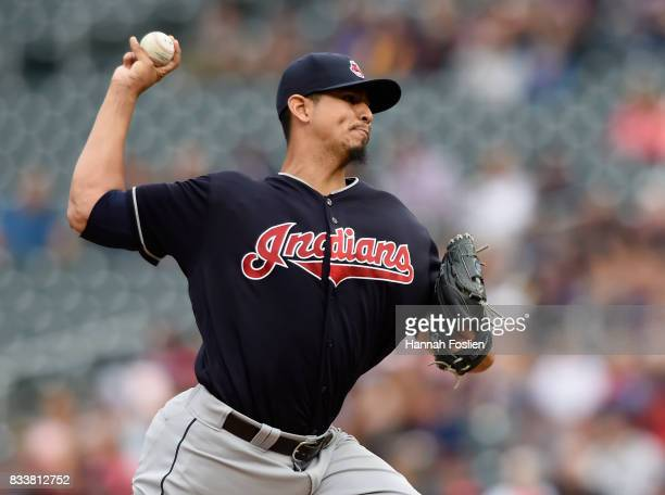 Carlos Carrasco of the Cleveland Indians delivers a pitch against the Minnesota Twins during the first inning of the game on August 17 2017 at Target...