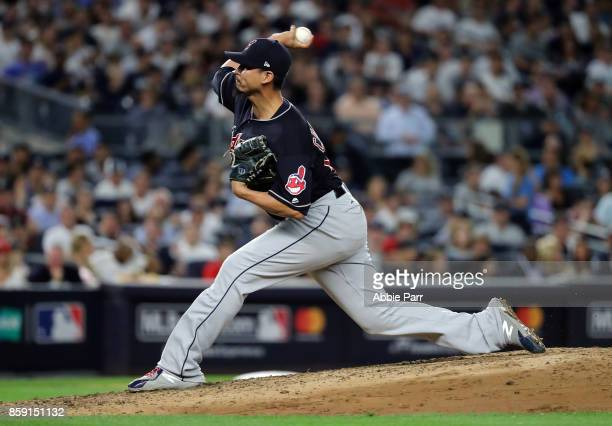Carlos Carrasco of the Cleveland Indians delivers a pitch during the fourth inning against the New York Yankees in game three of the American League...