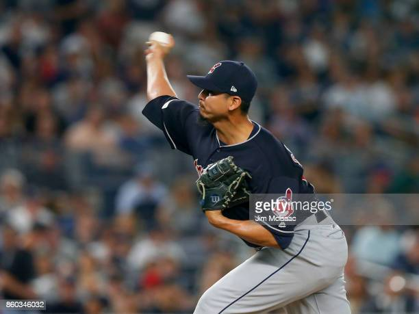 Carlos Carrasco of the Cleveland Indians in action against the New York Yankees in Game Three of the American League Divisional Series at Yankee...