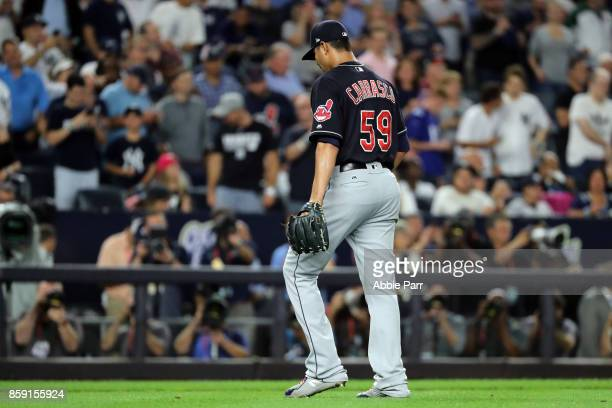Carlos Carrasco of the Cleveland Indians leaves the field after being relieved during the sixth inning against the New York Yankees in game three of...