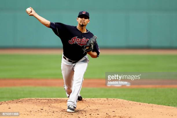 Carlos Carrasco of the Cleveland Indians pitches against the Boston Red Sox during the first inning at Fenway Park on August 1 2017 in Boston...