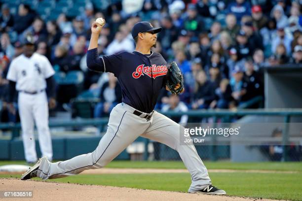 Carlos Carrasco of the Cleveland Indians pitches against the Chicago White Sox during the first inning at Guaranteed Rate Field on April 22 2017 in...