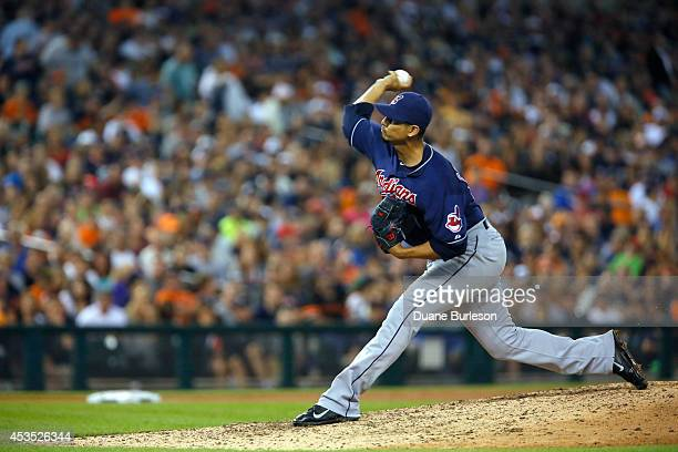 Carlos Carrasco of the Cleveland Indians pitches against the Detroit Tigers during game two of a doubleheader at Comerica Park on July 19 2014 in...