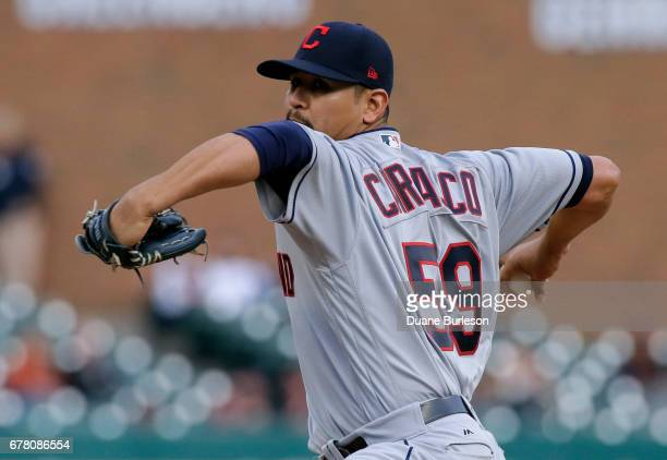Carlos Carrasco of the Cleveland Indians pitches against the Detroit Tigers during the second inning at Comerica Park on May 3 2017 in Detroit...
