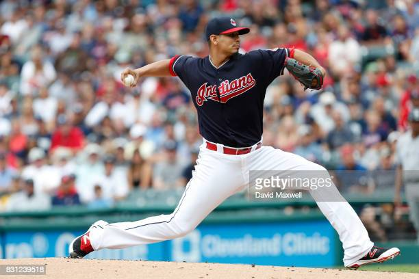 Carlos Carrasco of the Cleveland Indians pitches against the New York Yankees in the first inning at Progressive Field on August 6 2017 in Cleveland...