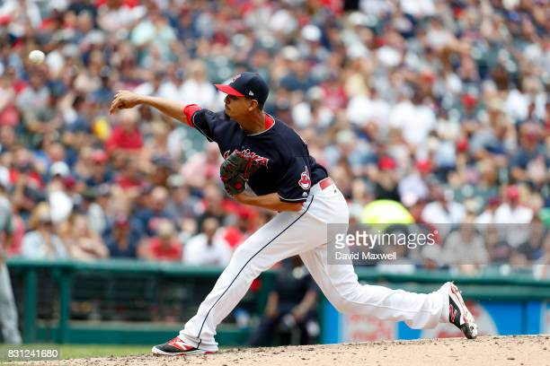 Carlos Carrasco of the Cleveland Indians pitches against the New York Yankees in the second inning at Progressive Field on August 6 2017 in Cleveland...