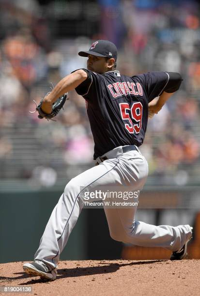 Carlos Carrasco of the Cleveland Indians pitches against the San Francisco Giants in the bottom of the first inning at ATT Park on July 19 2017 in...
