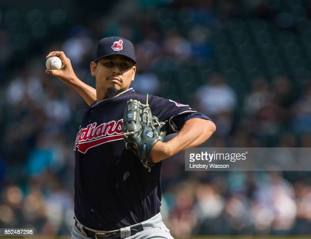 Carlos Carrasco of the Cleveland Indians pitches against the Seattle Mariners in the first inning at Safeco Field on September 23 2017 in Seattle...