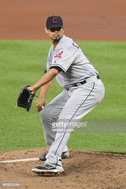Carlos Carrasco of the Cleveland Indians pitches during a baseball game against the Baltimore Orioles at Oriole park at Camden Yards on June 21 2017...