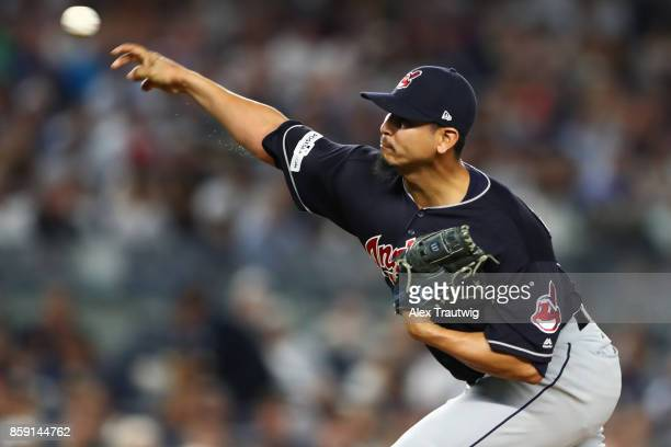 Carlos Carrasco of the Cleveland Indians pitches during Game 3 of the American League Division Series against the New York Yankees at Yankees Stadium...