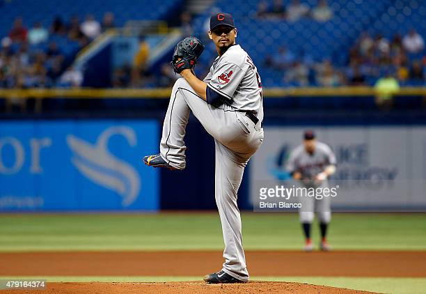 Carlos Carrasco of the Cleveland Indians pitches during the first inning of a game against the Tampa Bay Rays on July 1 2015 at Tropicana Field in St...