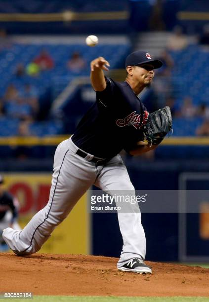 Carlos Carrasco of the Cleveland Indians pitches during the first inning of a game against the Tampa Bay Rays on August 11 2017 at Tropicana Field in...