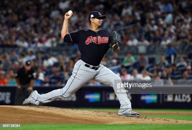 Carlos Carrasco of the Cleveland Indians pitches during the first inning against the New York Yankees in game three of the American League Division...