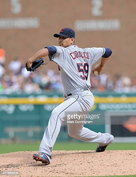 Carlos Carrasco of the Cleveland Indians pitches during the game against the Detroit Tigers at Comerica Park on June 13 2015 in Detroit Michigan The...