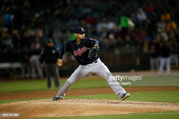 Carlos Carrasco of the Cleveland Indians pitches during the game against the Oakland Athletics at the Oakland Alameda Coliseum on July 14 2017 in...