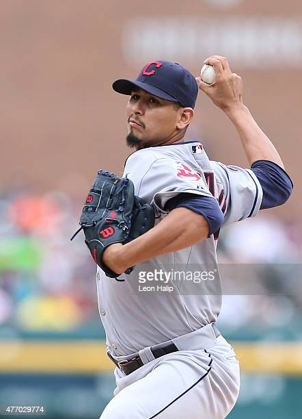 Carlos Carrasco of the Cleveland Indians pitches during the second inning of the game against the Detroit Tigers on June 13 2015 at Comerica Park in...