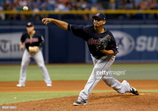 Carlos Carrasco of the Cleveland Indians pitches during the seventh inning of a game against the Tampa Bay Rays on August 11 2017 at Tropicana Field...