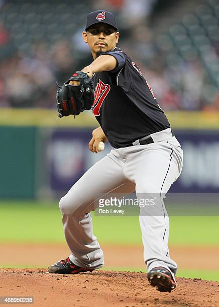 Carlos Carrasco of the Cleveland Indians pitches in th first inning against the Houston Astros at Minute Maid Park on April 8 2015 in Houston Texas