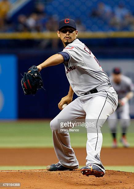 Carlos Carrasco of the Cleveland Indians pitches in the first inning of a game against the Tampa Bay Rays on July 1 2015 at Tropicana Field in St...