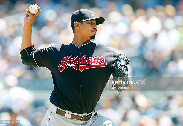 Carlos Carrasco of the Cleveland Indians pitches in the first inning against the New York Yankees at Yankee Stadium on August 7 2016 in the Bronx...