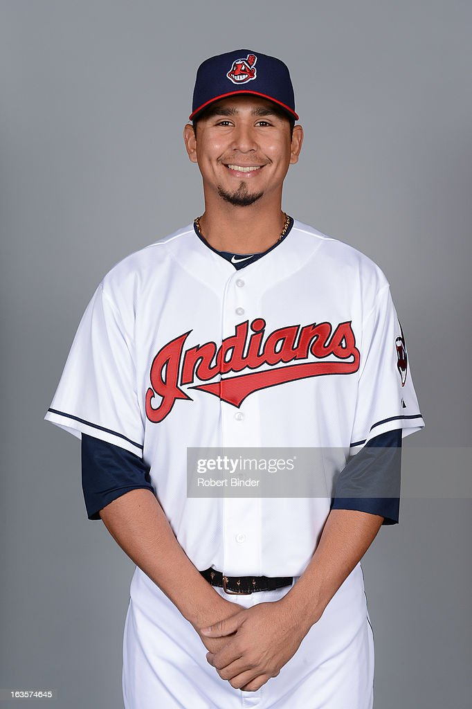 Carlos Carrasco #59 of the Cleveland Indians poses during Photo Day on February 19, 2013 at Goodyear Ballpark in Goodyear, Arizona.