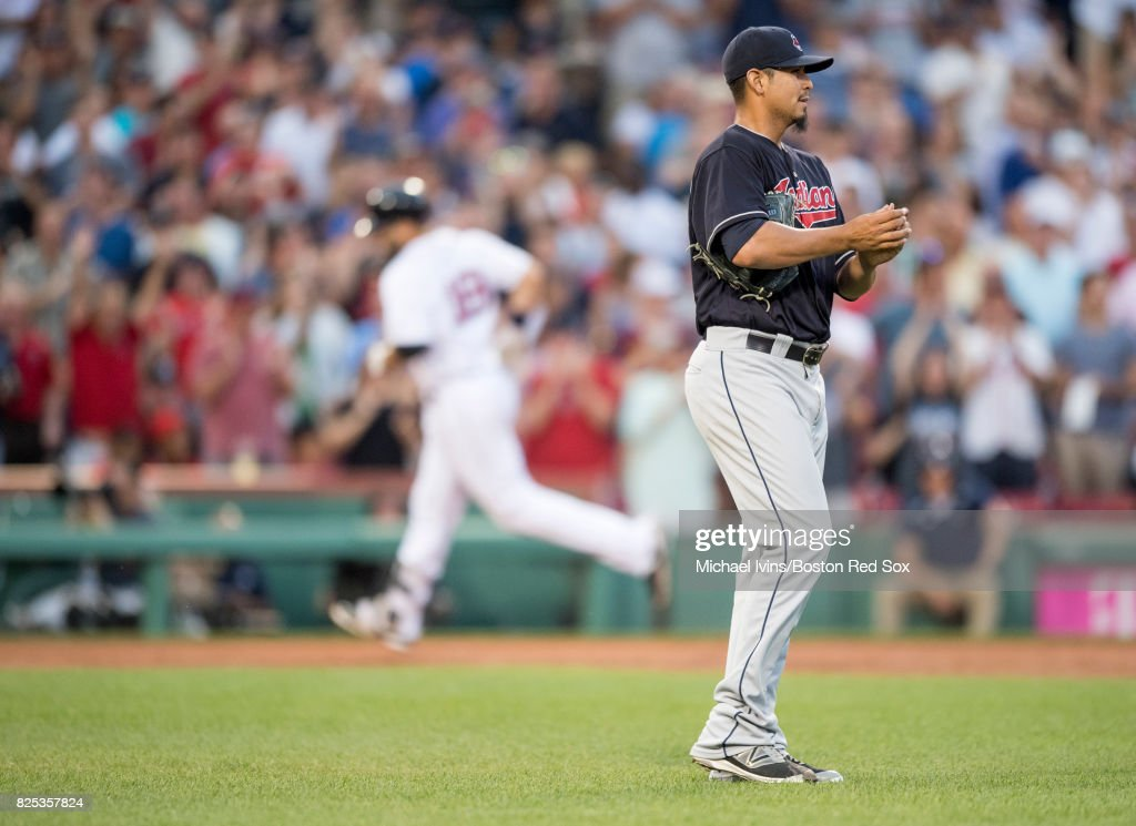 Carlos Carrasco # 59 of the Cleveland Indians reacts after allowing a three-run home run to Mitch Moreland #18 of the Boston Red Sox in the second inning on August 1, 2017 in Boston, Massachusetts.