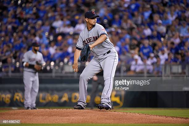 Carlos Carrasco of the Cleveland Indians throws against the Kansas City Royals at Kauffman Stadium on September 25 2015 in Kansas City Missouri
