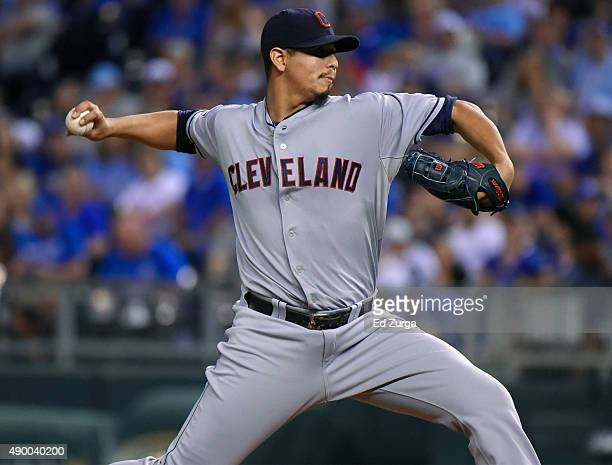 Carlos Carrasco of the Cleveland Indians throws in the fist inning against the Kansas City Royals at Kauffman Stadium on September 25 2015 in Kansas...