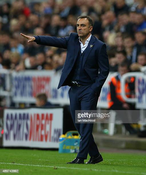 Carlos Carvalhal manager of Sheffield Wednesday gestures during the Capital One Cup Third Round match between Newcastle United and Sheffield...