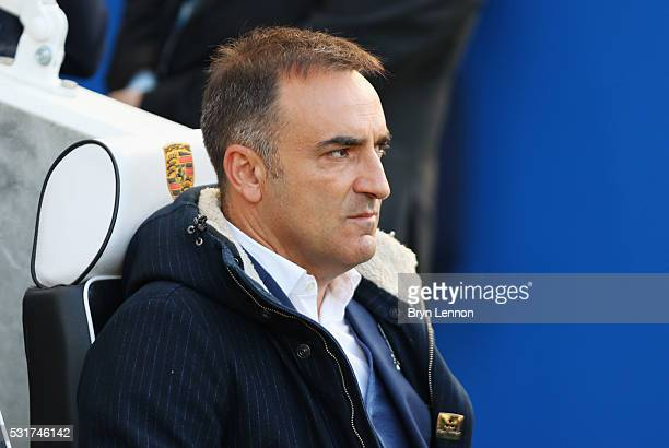 Carlos Carvalhal manager of Sheffield Wednesday looks on prior to the Sky Bet Championship Play Off semi final second leg match between Brighton Hove...