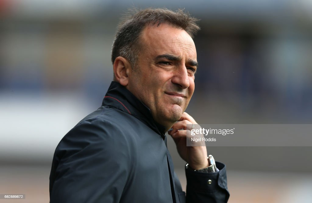 Carlos Carvalhal, Manager of Sheffield Wednesday looks on prior to the Sky Bet Championship Play Off Semi Final 1st leg match between Huddersfield Town and Sheffield Wednesday at Galpharm Stadium on May 14, 2017 in Huddersfield, England.