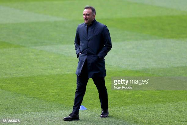 Carlos Carvalhal Manager of Sheffield Wednesday takes a look around the pitch prior to the Sky Bet Championship Play Off Semi Final 1st leg match...