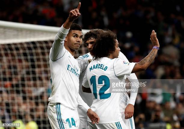 Carlos Casemiro of Real Madrid celebrates his goal with his team mates during the Spanish La Liga football match between Real Madrid and Las Palmas...