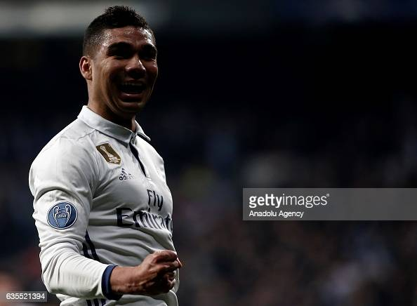Carlos Casemiro of Real Madrid celebrates scoring a goal during the UEFA Champions League round of 16 match between Real Madrid and Napoli at...