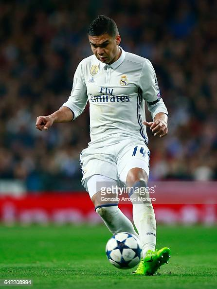 Carlos Casemiro of Real Madrid CF controls the ball during the UEFA Champions League Round of 16 first leg match between Real Madrid CF and SSC...