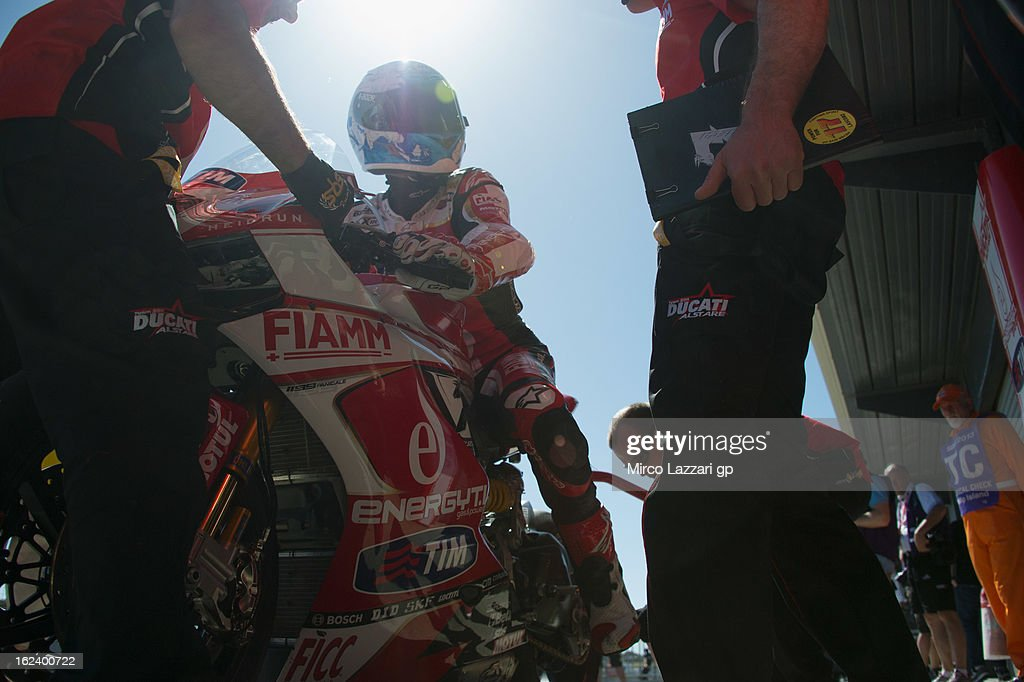<a gi-track='captionPersonalityLinkClicked' href=/galleries/search?phrase=Carlos+Checa&family=editorial&specificpeople=235726 ng-click='$event.stopPropagation()'>Carlos Checa</a> of Spain and Team Ducati Alstare prepares to start in box during the qualifying during the round first of 2013 Superbike FIM World Championship at Phillip Island Grand Prix Circuit on February 23, 2013 in Phillip Island, Australia.
