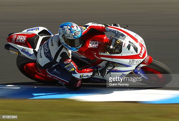Carlos Checa of Spain and the Althea Racing Team rounds the bend during practice ahead of round one for the Superbike World Championship at Phillip...