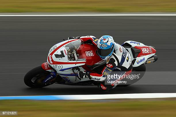 Carlos Checa of Spain and the Althea Racing Team rounds the bend during qualifying practise for round one of the Superbike World Championship at...