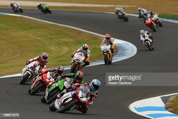 Carlos Checa of Spain rides the Althea Racing Ducati during race one of the 2012 Superbike FIM World Championship at Phillip Island Grand Prix...
